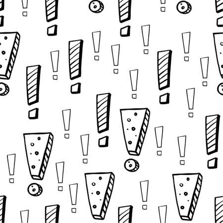 Exclamation mark. Black sketch isolated on white background. Seamless pattern.