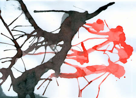Watercolor abstract background. Splattered black, red, colors.