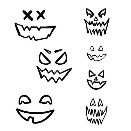 Scary halloween face sketch set isolated on white background.