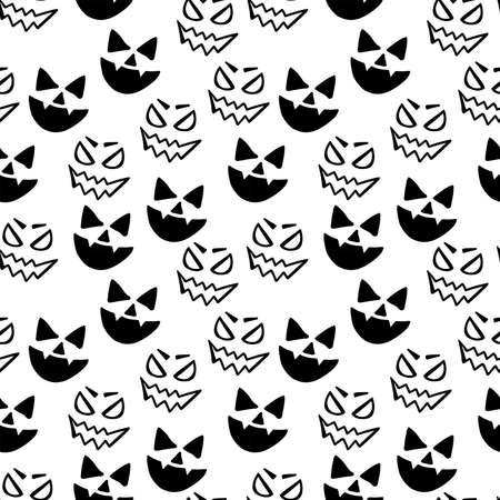 Halloween face sketch isolated on white background. Seamless pattern.