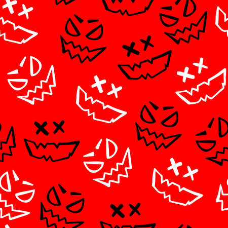 Scary halloween face sketch isolated on red background. Seamless pattern. White and black colors.