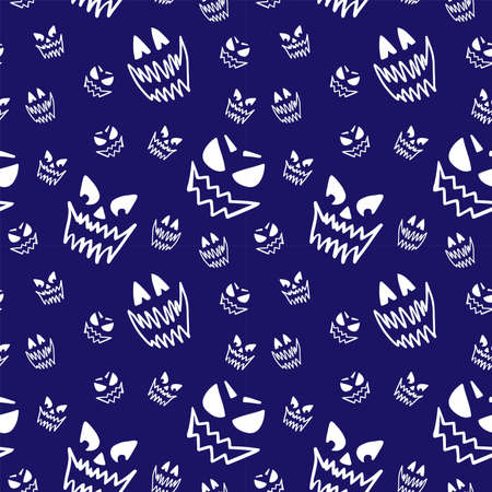 Scary halloween face sketch isolated on blue background. Seamless pattern.