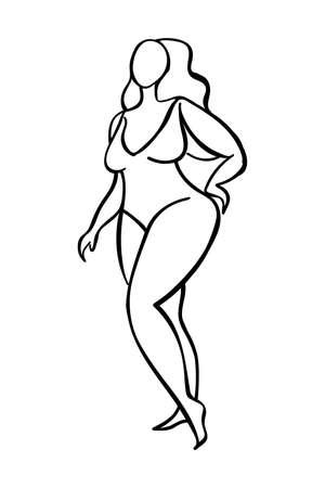 Plump woman black line sketch on white background. Body positive illustration.