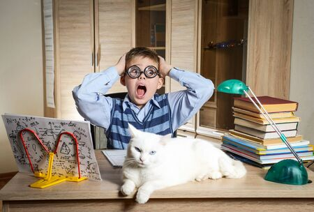 Crazy Boy Wearing Funny Glasses Doing Homework With Cat Sitting On The Desk. Child With Learning Difficulties. Boy Having Problems With His Homework. Panic. Education Concept. 免版税图像