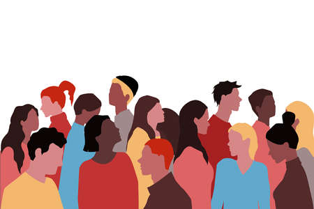 A Group Of People Of Different Nationalities In A Minimalist Style
