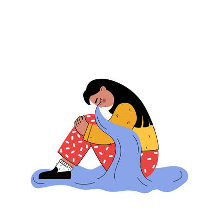 Vector illustration of sad and depression girl sitting on the floor. Vecteurs