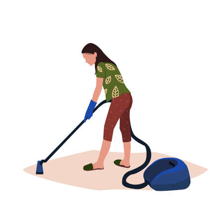 Young Woman Cleaning And Vacuuming Isolated Vector