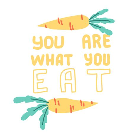 You are what you eat. Hand drawn vegetable elements. Vector elements for labels, l  badges, stickers or icons. Lettering with carrots. Ilustração