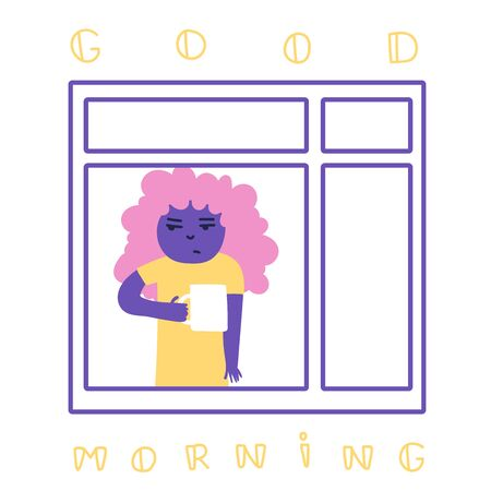 Morning coffee. Girl look out the window. Monday morning. Good morning. Stay at home. Flat Cartoon Vector Illustration. Clip art