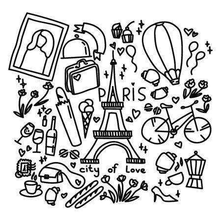 Travel theme doodle. Paris doodle set. For print, icon,  poster, symbol, design, decor, textile, paper, card, invitation, holiday.