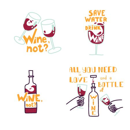 Cute hand drawn trendy vector illustrations. Set of wine illustrations with wine bottles and glasses. Illustration