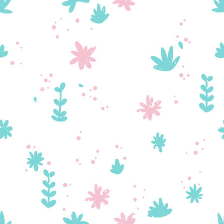Simple pattern with flowers and leaves. Small pink flowers and blue leaves and twigs. For backgrounds, packaging, textile and various other designs. Illustration