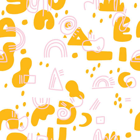 Abstract background. Hand drawn various shapes and doodle objects. Contemporary modern trendy vector illustration. Seamless pattern. Ilustração