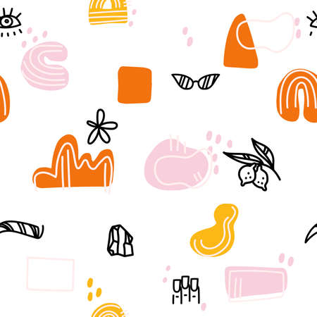 Abstract background. Hand drawn various shapes and doodle objects. Contemporary modern trendy vector illustration for makeup master, eyebrow master, manicurist. Seamless pattern for beauty salon Ilustração