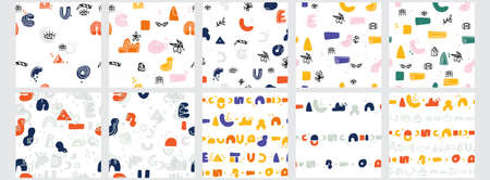 Set of four abstract backgrounds. Hand drawn various shapes and doodle objects. Contemporary modern trendy vector illustrations.