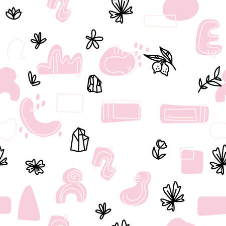 Abstract background. Hand drawn various shapes and doodle objects for bloggers, photographer, florist. Contemporary modern trendy vector illustration. Seamless pattern.