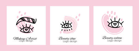 A set of  makeup master, beauty shop.  beauty salon or cosmetics brand. Contemporary modern trendy