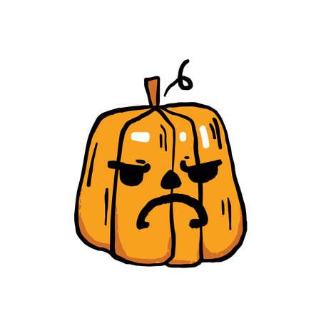 Halloween hand drawn vector clip art of pumpkin. Cartoon pumpkin with funny face. Illusztráció