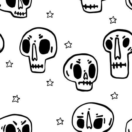 Seamless pattern with Hand drawn cartoon skull. Funny cartoon skull. Vector illustration.
