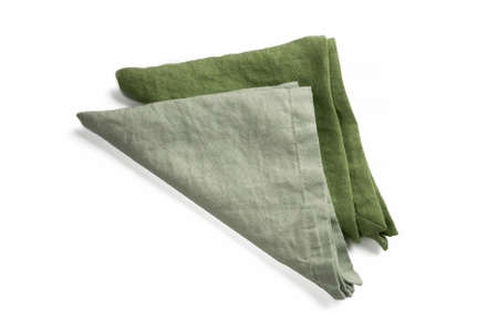 Two green linen organic raw cotton serving napkins