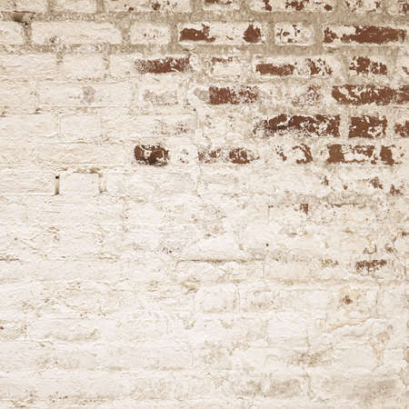 Vintage Cracked White Stucco Wall With Red Bricks Layer. Uneven Whiten Rustic Texture. Shabby Painted Plaster. Square Format Size. Archivio Fotografico