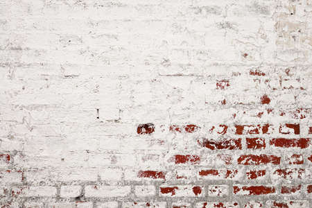 Cracked White Stucco Wall With Red Bricks Layer. Uneven Whiten Rustic Texture. Vintage Painted Plaster. Design Element Background For Web Design Banner. Foto de archivo