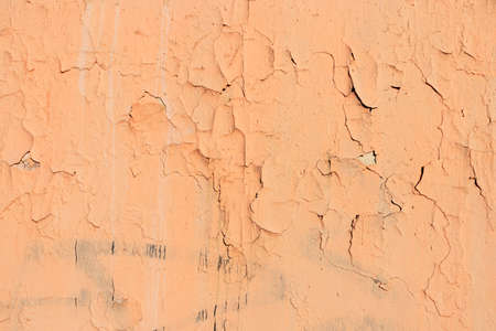 Destroyed Peeling Faded Paint Texture Background. Old Urban Cracked Painted Surface. Distressed Plaster Wall Rough Backdrop.