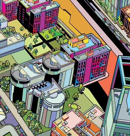 暗い背景色鮮やかなモザイク模様の都市  イラスト・ベクター素材