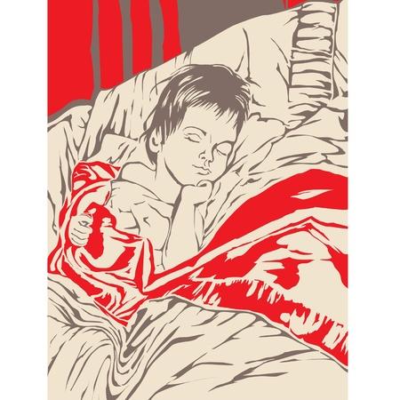 a little boy sleeping in bed Stock Vector - 9930861