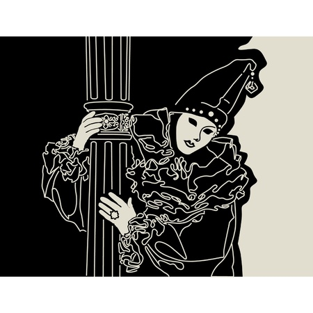 actor at a carnival in Venice  Illustration