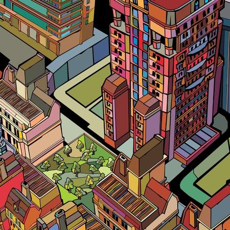 grass  plan: colorful building urban city