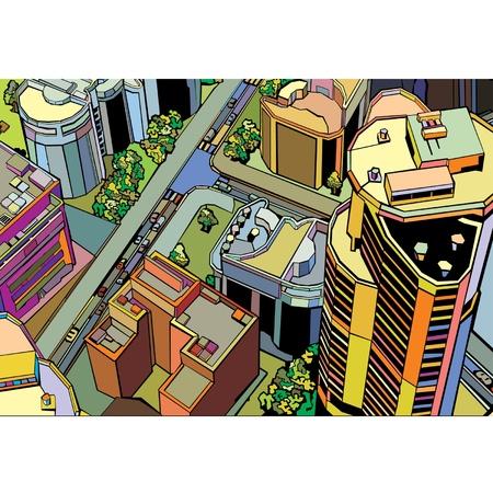 colorful building urban city  Vector