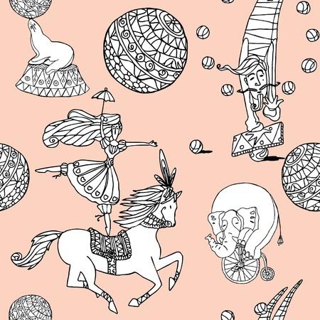ビンテージ スタイルのサーカス イラスト エレガンス シームレスなパターン