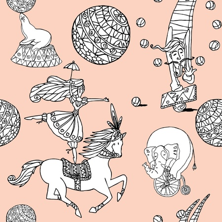 Elegance Seamless pattern with circus illustration in vintage style