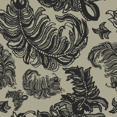 Elegance Seamless pattern with feathers, vector illustration in vintage style Vector