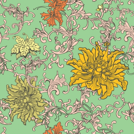 vintage background pattern: Vintage floral seamless pattern