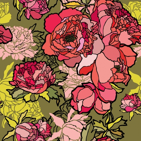 Elegance Seamless pattern with flowers rose, vector floral illustration in vintage style Vector
