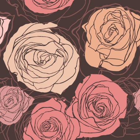 Elegance Seamless pattern with flowers rose, floral illustration in vintage style Vector
