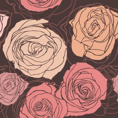 Modello Elegance Seamless con fiori rosa, illustrazione floreale in stile vintage Vettoriali