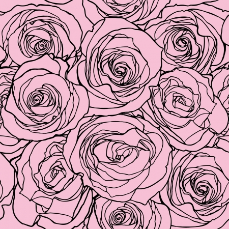 violet red: Elegance Seamless pattern with flowers rose, floral illustration in vintage style Illustration