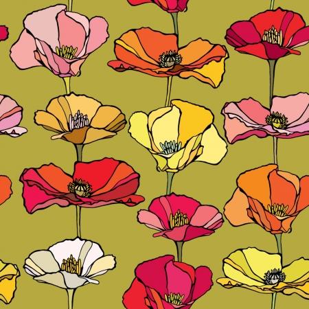 優雅さとケシの花、シームレス パターン ビンテージ スタイルの花のイラスト  イラスト・ベクター素材