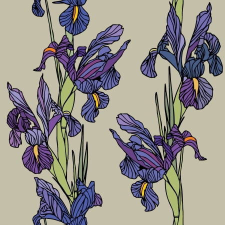 iris flower: Elegance Seamless pattern with flowers narcissus and iris, floral illustration in vintage style Illustration