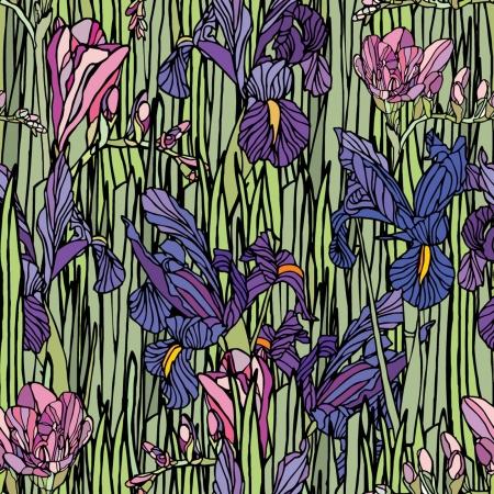 Elegance Seamless pattern con fiori narciso e iride, illustrazione floreale in stile vintage