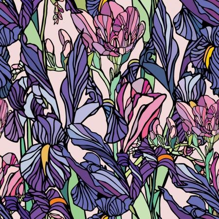 エレガンス花水仙とアイリス、ビンテージ スタイルのベクトル花のイラストとのシームレスなパターン