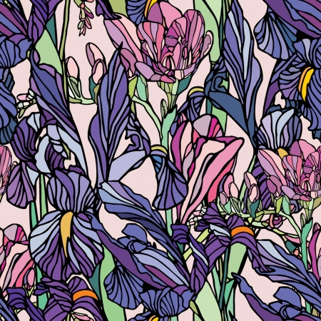 iris flower: Elegance Seamless pattern with flowers narcissus and iris, vector floral illustration in vintage style
