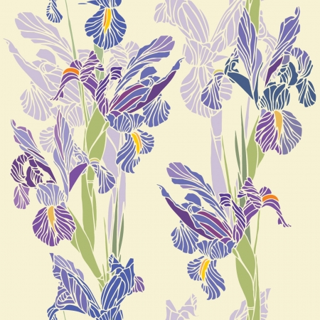 Elegance Seamless pattern with flowers narcissus and iris,  floral illustration in vintage style Stock Vector - 13985688