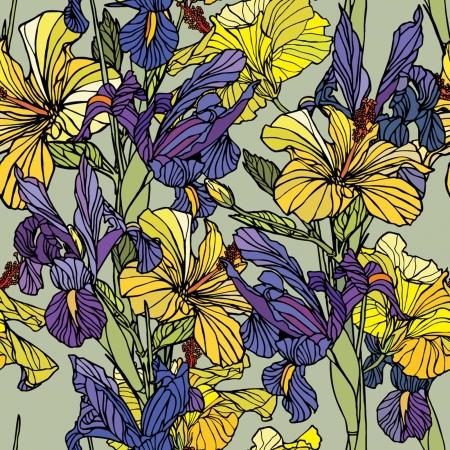 Elegance Seamless pattern con fiori narcisi e iris, illustrazione floreale in stile vintage