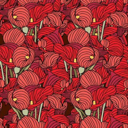 Elegance Seamless pattern con fiori, illustrazione floreale in stile vintage Vettoriali