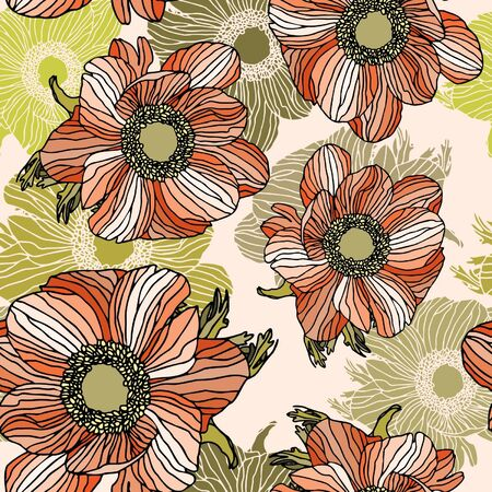 Elegance Seamless pattern with flowers, floral illustration in vintage style Stock Vector - 13985869