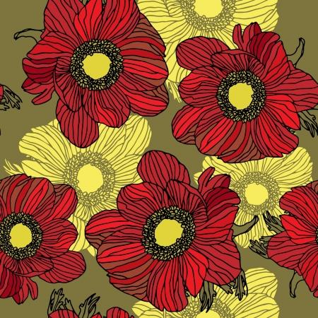 Elegance Seamless pattern con fiori, illustrazione vettoriale floreale in stile vintage Vettoriali